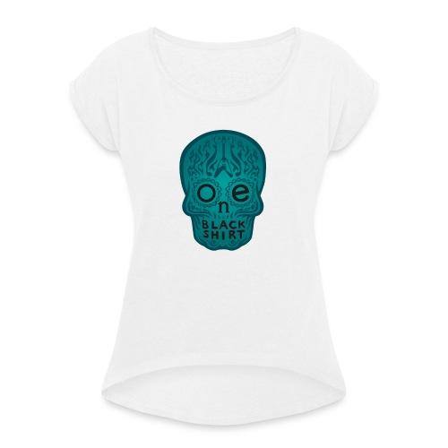 MexSkull bleu gif - Frauen T-Shirt mit gerollten Ärmeln