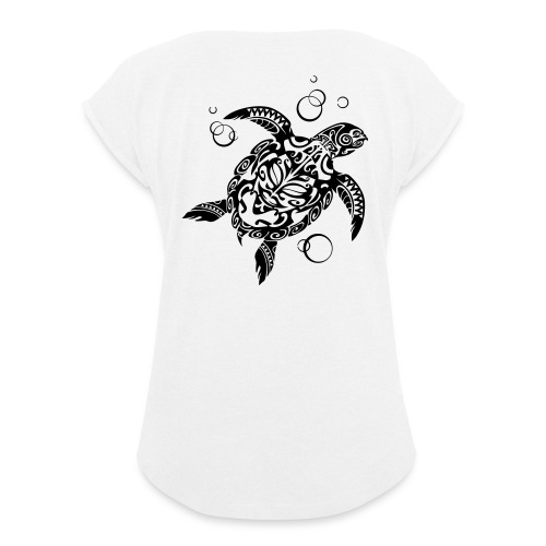 Watchful Turtle - Women's T-Shirt with rolled up sleeves