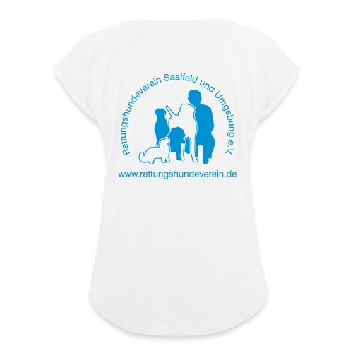 logovectorblack - Frauen T-Shirt mit gerollten Ärmeln