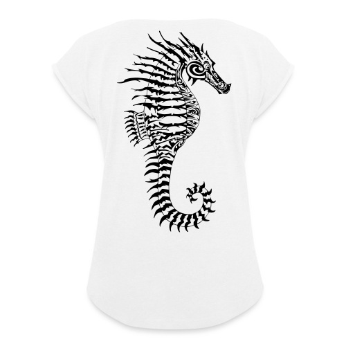 Alien Seahorse Invasion - Women's T-Shirt with rolled up sleeves