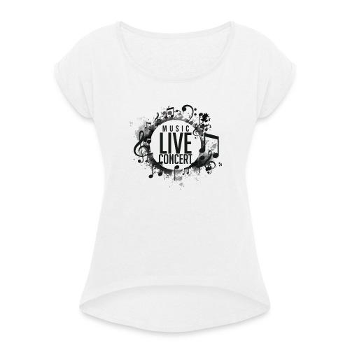 musica - Camiseta con manga enrollada mujer