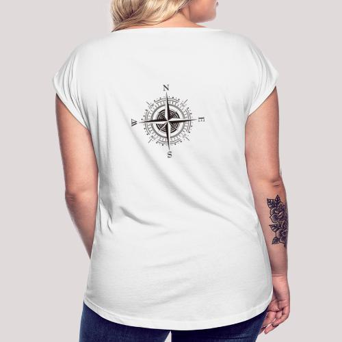 Windrose - Frauen T-Shirt mit gerollten Ärmeln