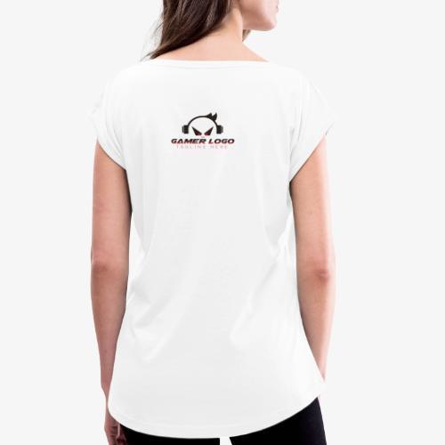 gamer logo - Frauen T-Shirt mit gerollten Ärmeln