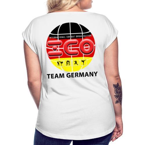 wkc germany logo 2017 - Frauen T-Shirt mit gerollten Ärmeln