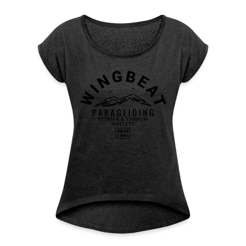 wingbeat logo - big - on back - in white - Women's T-shirt with rolled up sleeves