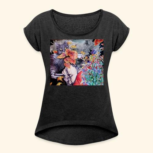 Nap and a cat - Naisten T-paita, jossa rullatut hihat