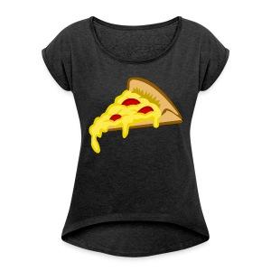 IF IT FITS MY SHIRT PIZZA? - Vrouwen T-shirt met opgerolde mouwen