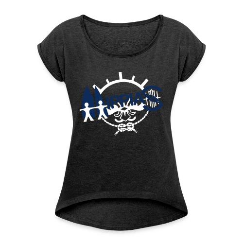 hippias logo - Vrouwen T-shirt met opgerolde mouwen
