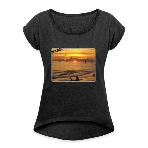 Sunset - Frauen T-Shirt mit gerollten Ärmeln