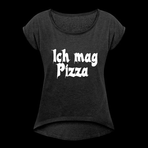 Pizza Logo white - Frauen T-Shirt mit gerollten Ärmeln