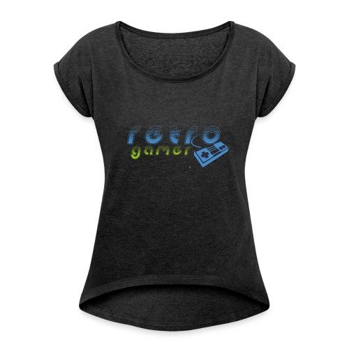 retro gamer - Frauen T-Shirt mit gerollten Ärmeln