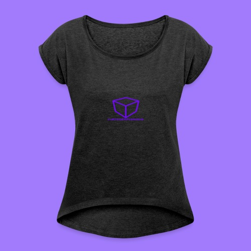 curtdoespcgaming logo #2 - Women's T-shirt with rolled up sleeves