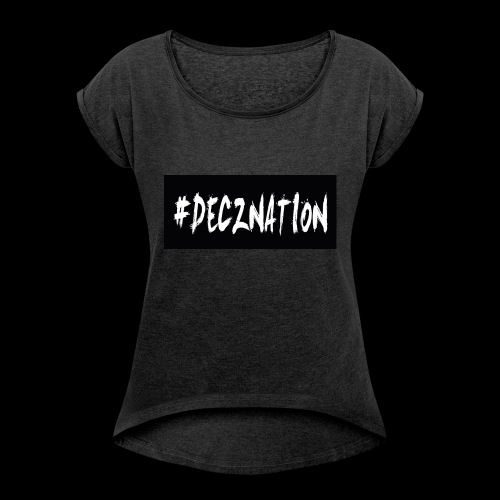 DECZNATION - Women's T-shirt with rolled up sleeves