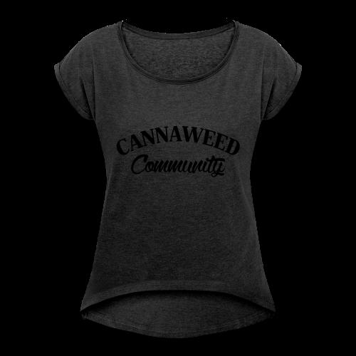 noir sur blanc CWD Communauté - T-shirt à manches retroussées Femme