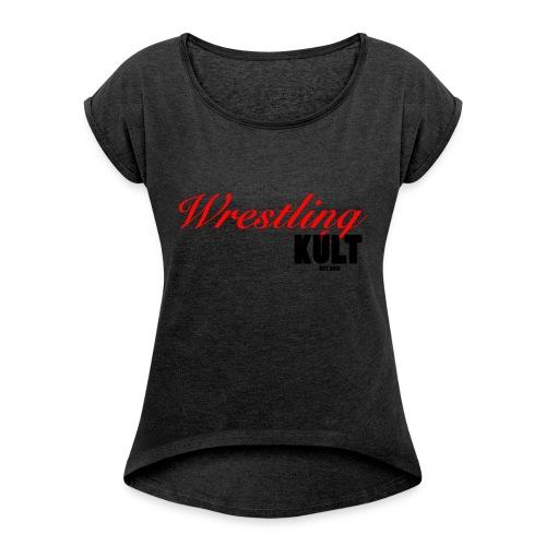 WK_Logo_Black - Frauen T-Shirt mit gerollten Ärmeln