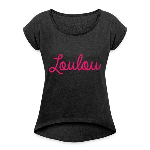 Logo-Roze - Vrouwen T-shirt met opgerolde mouwen