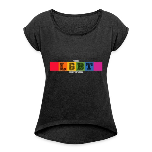 The LGBT Network Logo White - Women's T-shirt with rolled up sleeves