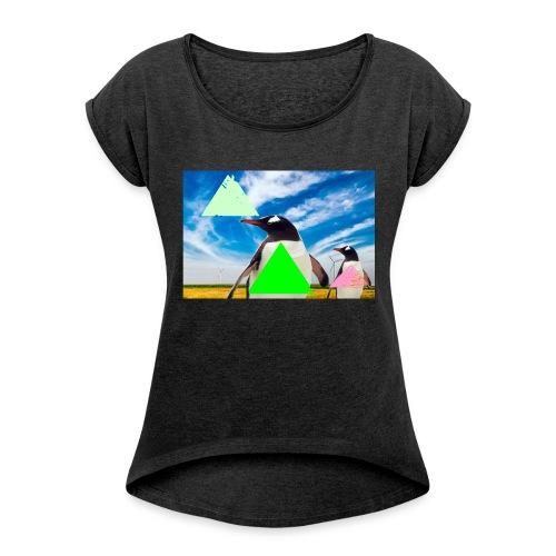 ultra_mega_h--ftig_pingvin_med_yolo_man_swag - T-shirt med upprullade ärmar dam