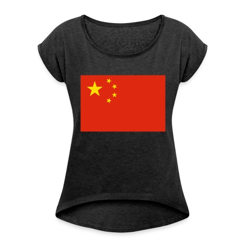 Small Chinese flag - Women's T-Shirt with rolled up sleeves