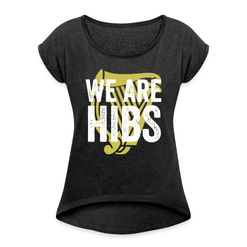 WEAREHIBS WhiteWithGoldHarp - Women's T-shirt with rolled up sleeves