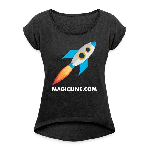 Rocket Magicline com Typo weiss DIN A3 - Frauen T-Shirt mit gerollten Ärmeln
