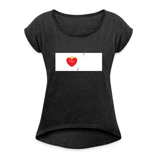 el amor de niños - Camiseta con manga enrollada mujer