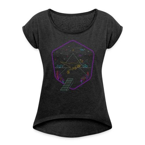 Demodern Design - The Digi Dino - Frauen T-Shirt mit gerollten Ärmeln