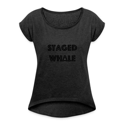 Staged Whale - Vrouwen T-shirt met opgerolde mouwen