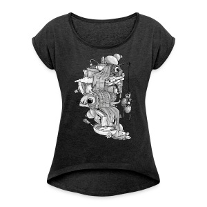 MORE FISH PLEASE JYOOK-A004 - Women's T-shirt with rolled up sleeves