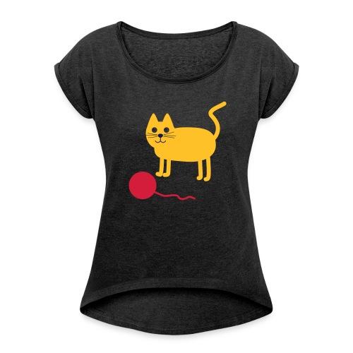 Katze mit Wollknäul - Frauen T-Shirt mit gerollten Ärmeln