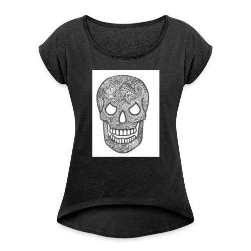 Zentangle Skull 1 - Vrouwen T-shirt met opgerolde mouwen