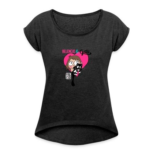 Belencio & Gatete - Camiseta con manga enrollada mujer