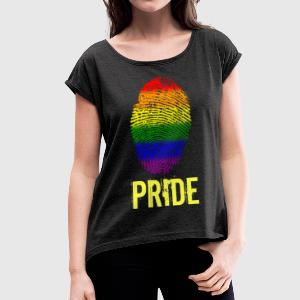 Pride Pride fingerprint - Women's T-shirt with rolled up sleeves
