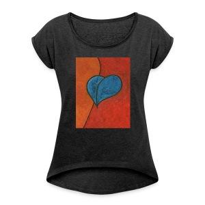 Czekam - Koszulka damska z lekko podwiniętymi rękawami