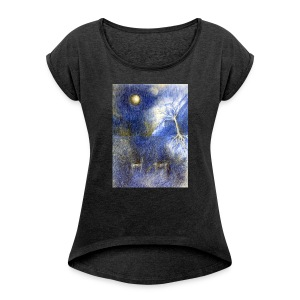 In Night On Meadow - Koszulka damska z lekko podwiniętymi rękawami