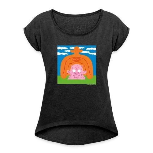 Sun Giant and Demon Head - Frauen T-Shirt mit gerollten Ärmeln