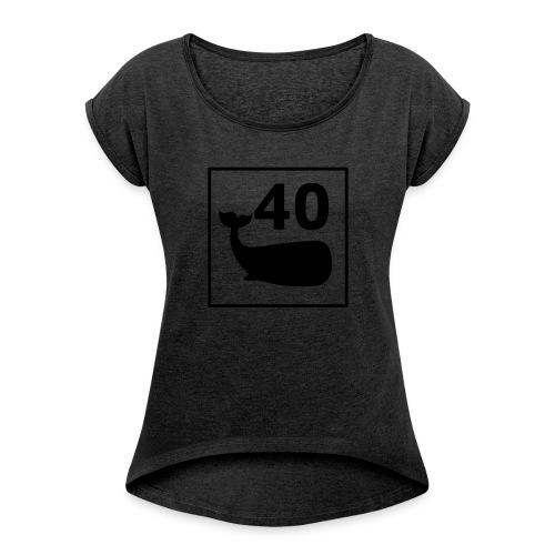 print-logo - T-skjorte med rulleermer for kvinner