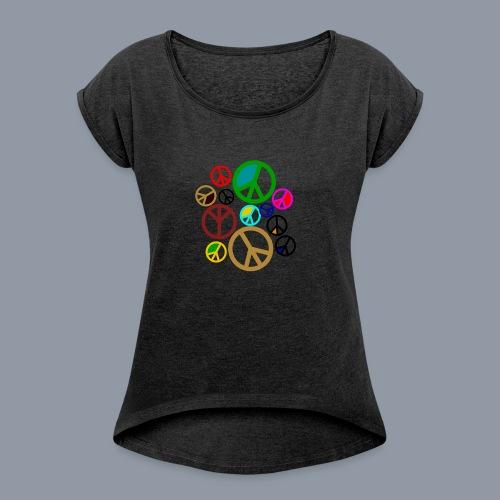 Peace, Peace, Peace - Frauen T-Shirt mit gerollten Ärmeln