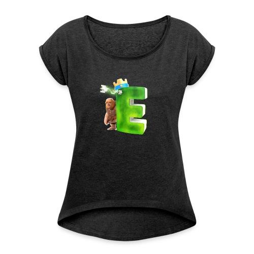 Logo klein - Frauen T-Shirt mit gerollten Ärmeln