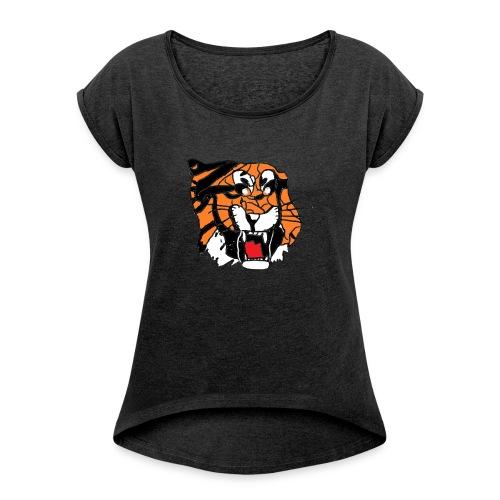 Tigerplaylogo - Frauen T-Shirt mit gerollten Ärmeln