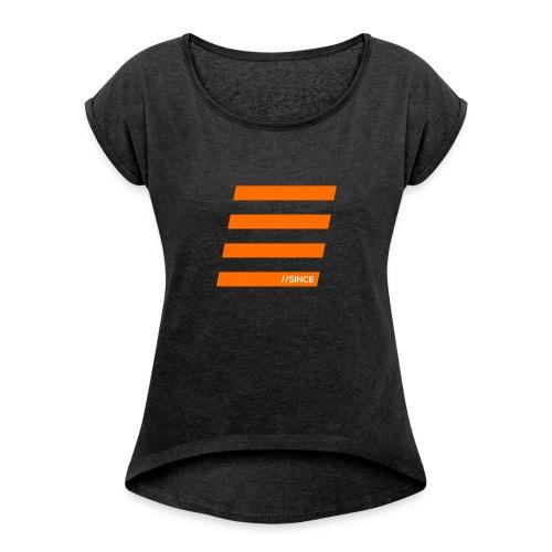 Orange Bars - Frauen T-Shirt mit gerollten Ärmeln