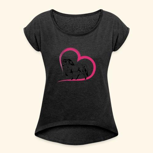 Herz-Tölter - Frauen T-Shirt mit gerollten Ärmeln