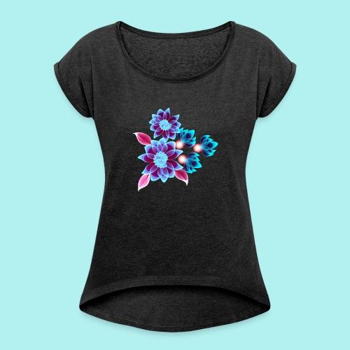 Hypnotic flowers - T-shirt à manches retroussées Femme