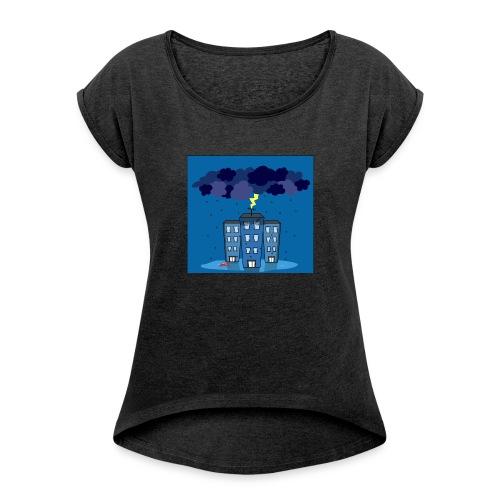 onweer-jpg - Vrouwen T-shirt met opgerolde mouwen