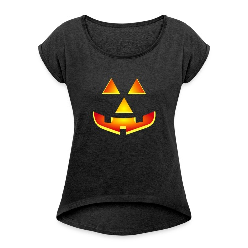 Smiling pumpkin - T Shirt, Halloween, Scary Face - Women's T-shirt with rolled up sleeves