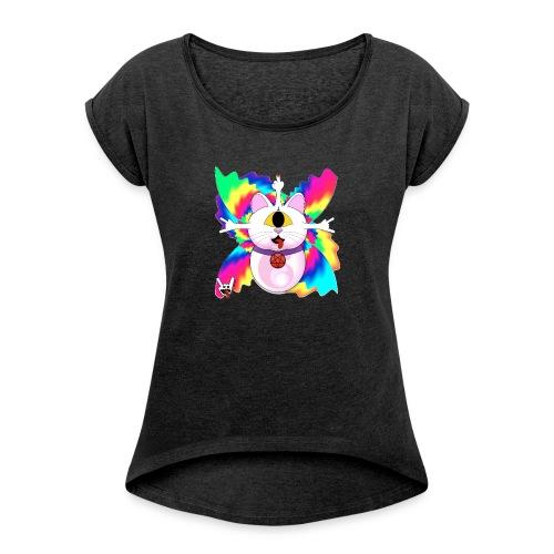 Chat diabolique - T-shirt à manches retroussées Femme