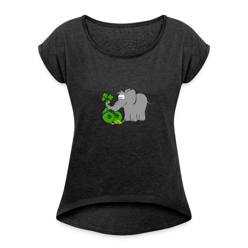 Der Gewinnofant - Frauen T-Shirt mit gerollten Ärmeln
