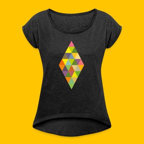 Rhombus - Frauen T-Shirt mit gerollten Ärmeln