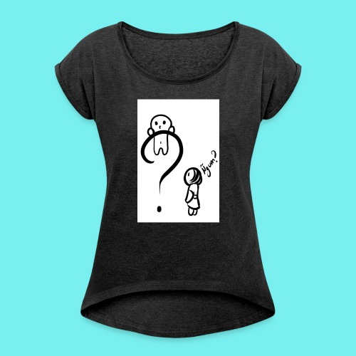 Qué? - Camiseta con manga enrollada mujer