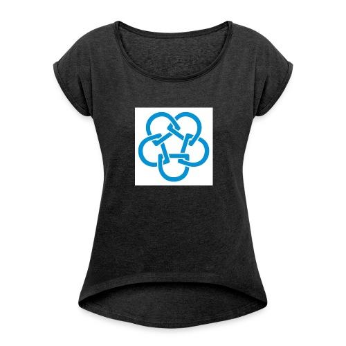 Diabetesf--rbundet_blomma__webb_pms - T-shirt med upprullade ärmar dam